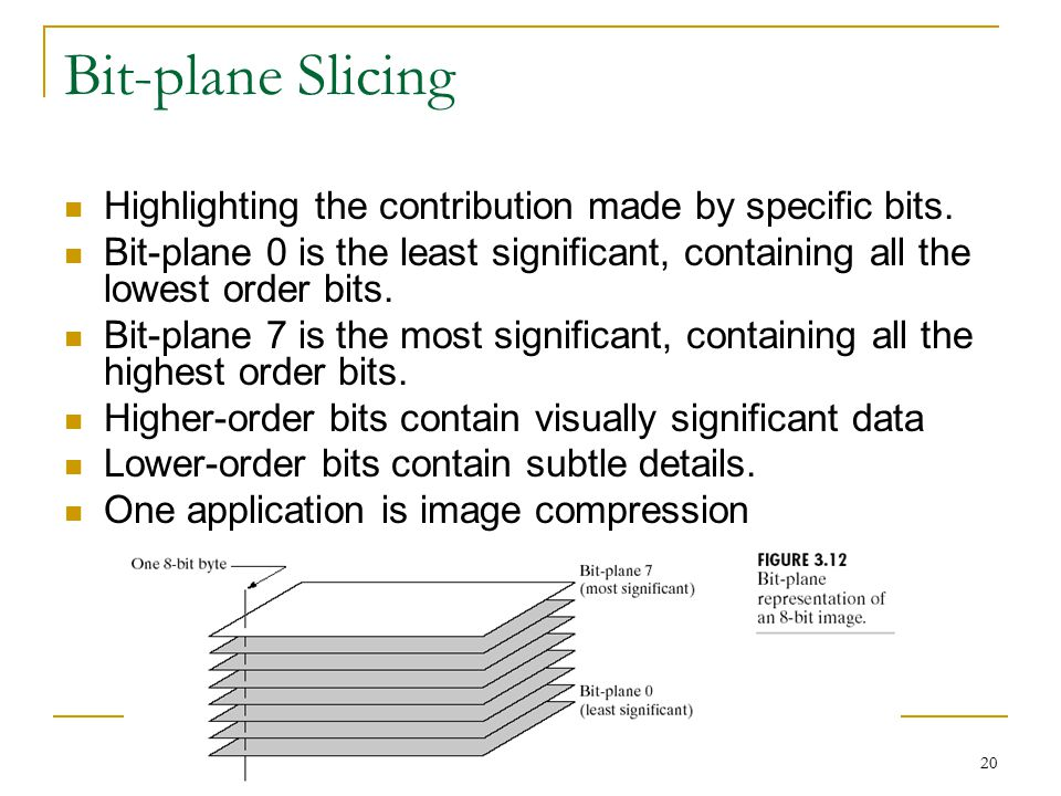 Bit-plane Slicing Highlighting the contribution made by specific bits.