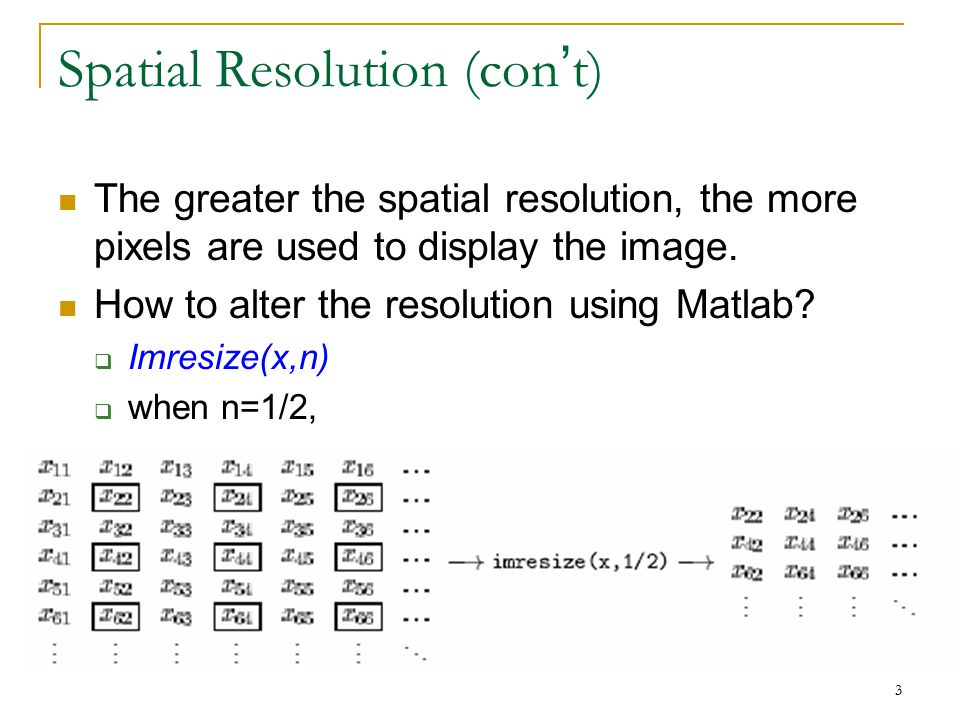 Spatial Resolution (con't)