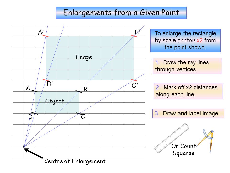X2 Enlargements from a Given Point A/ B/ D/ C/ A B D C
