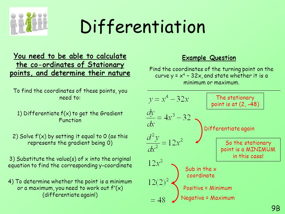 Differentiation You need to be able to calculate the co-ordinates of Stationary points, and determine their nature.
