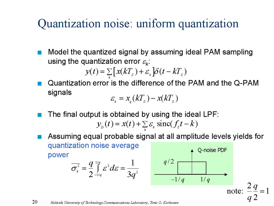 Quantization noise: uniform quantization