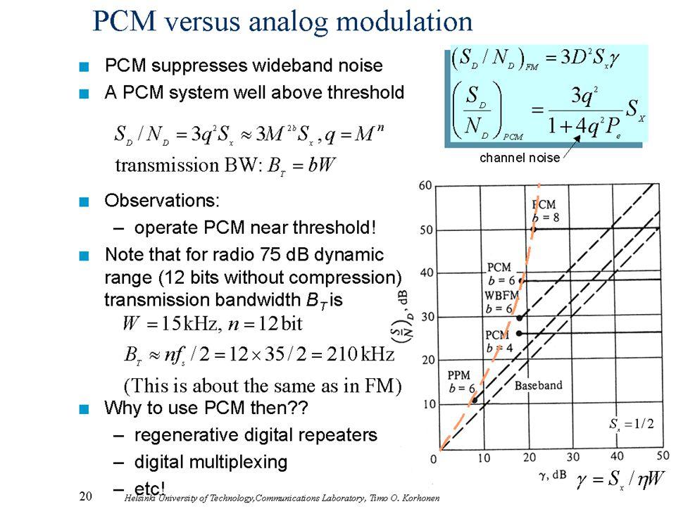 PCM versus analog modulation