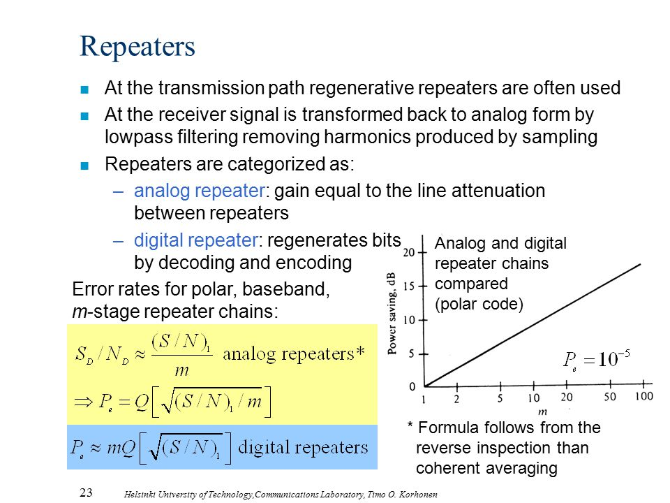 Repeaters At the transmission path regenerative repeaters are often used.