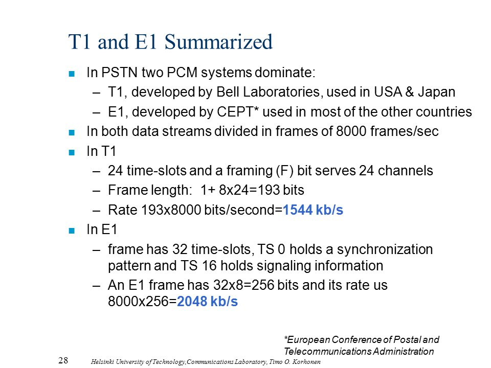 T1 and E1 Summarized In PSTN two PCM systems dominate: