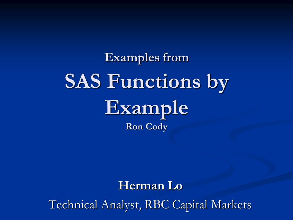 Cody by sas pdf statistics example ron