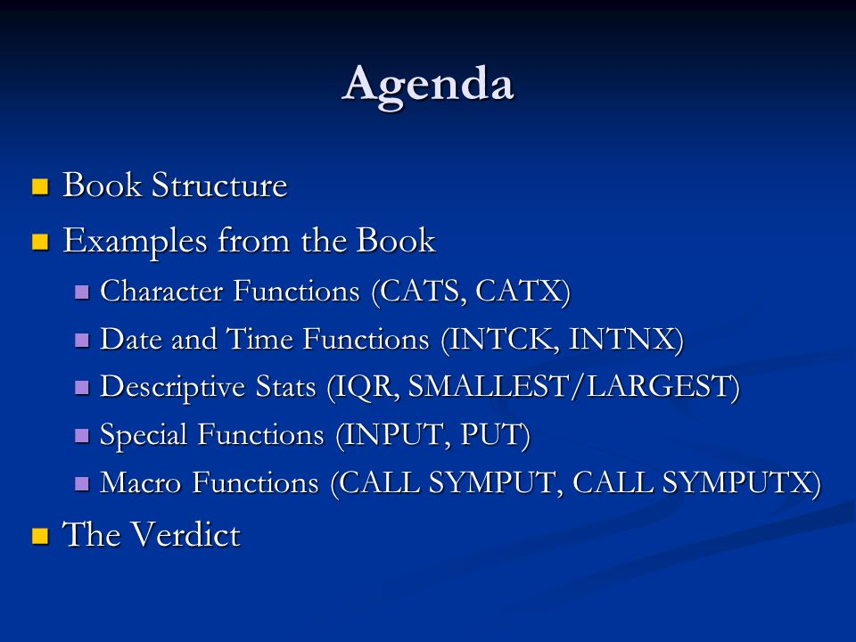 Agenda Book Structure Examples from the Book The Verdict
