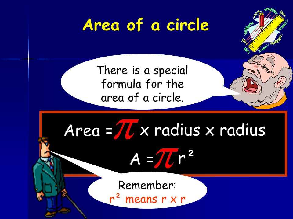 There is a special formula for the area of a circle.