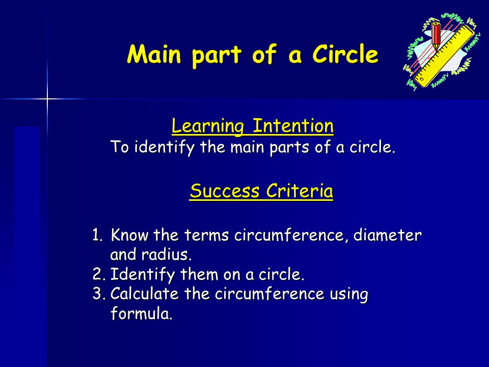 To identify the main parts of a circle.