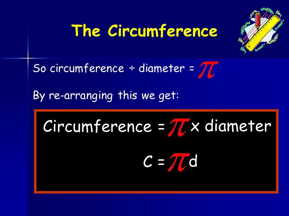 The Circumference Circumference = x diameter C = d