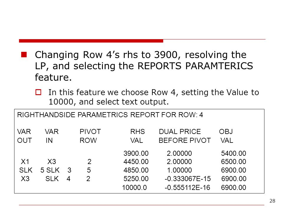 Changing Row 4's rhs to 3900, resolving the LP, and selecting the REPORTS PARAMTERICS feature.