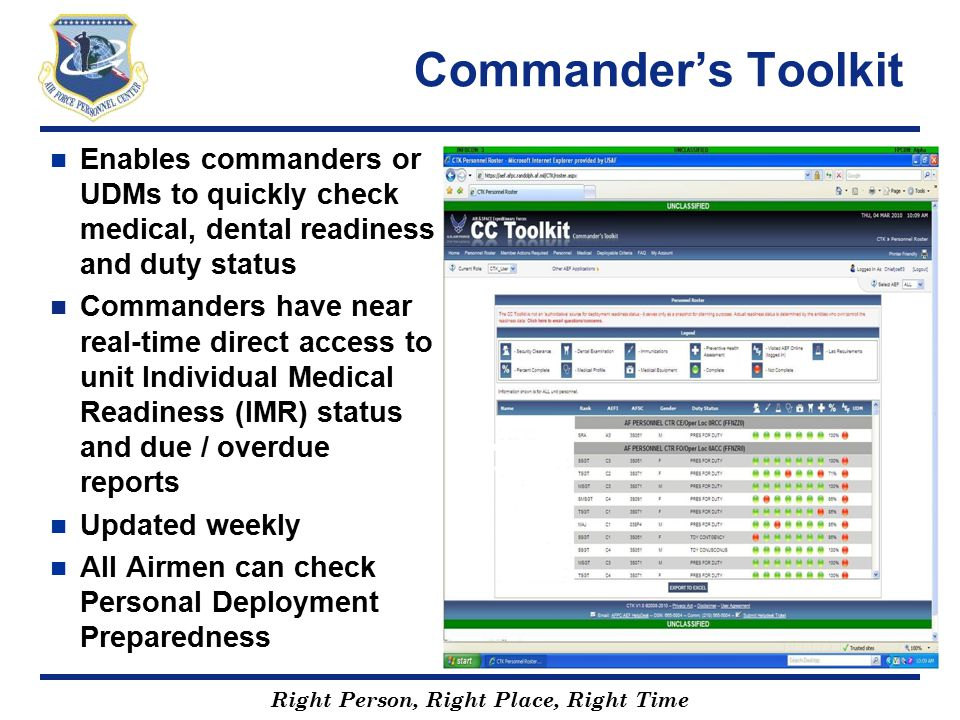 Commander's Toolkit Enables commanders or UDMs to quickly check medical, dental readiness and duty status.