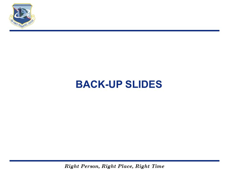 BACK-UP SLIDES To be used at briefers discretion
