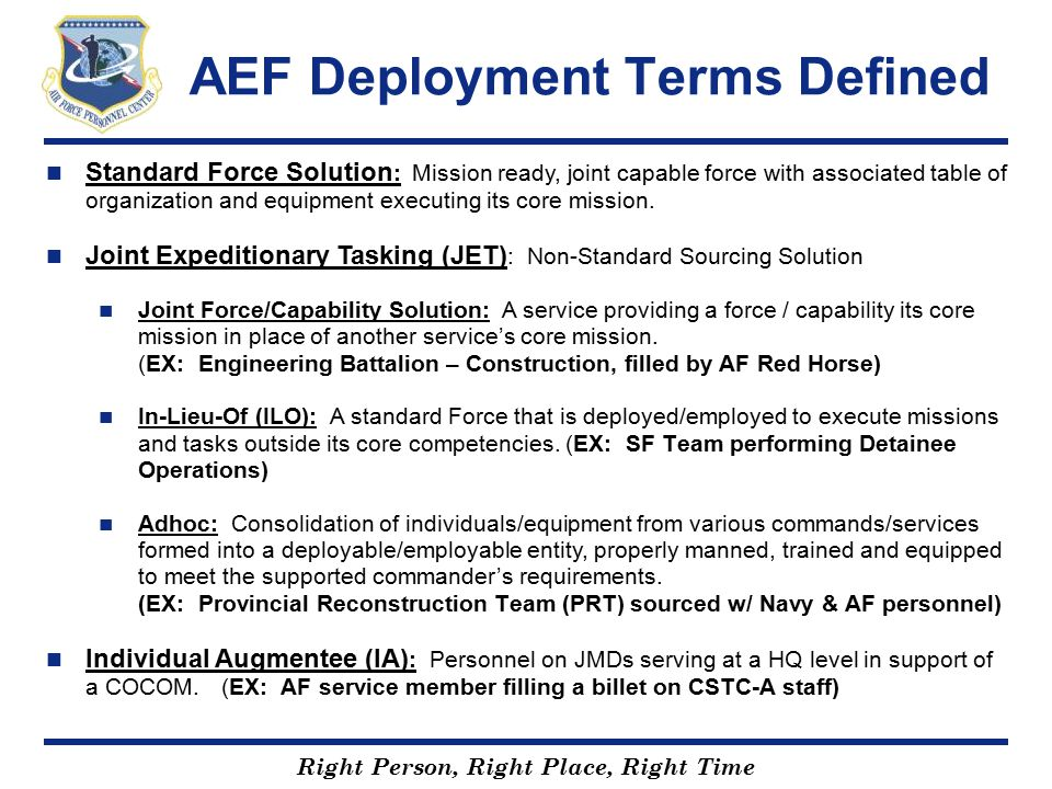 AEF Deployment Terms Defined