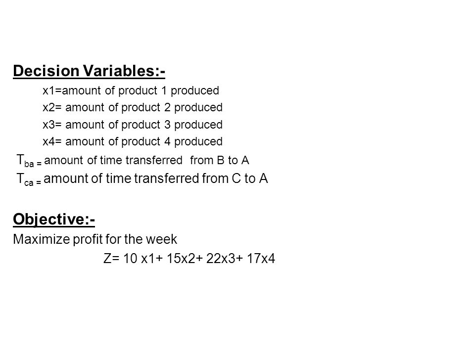 Decision Variables:- Objective:- Maximize profit for the week