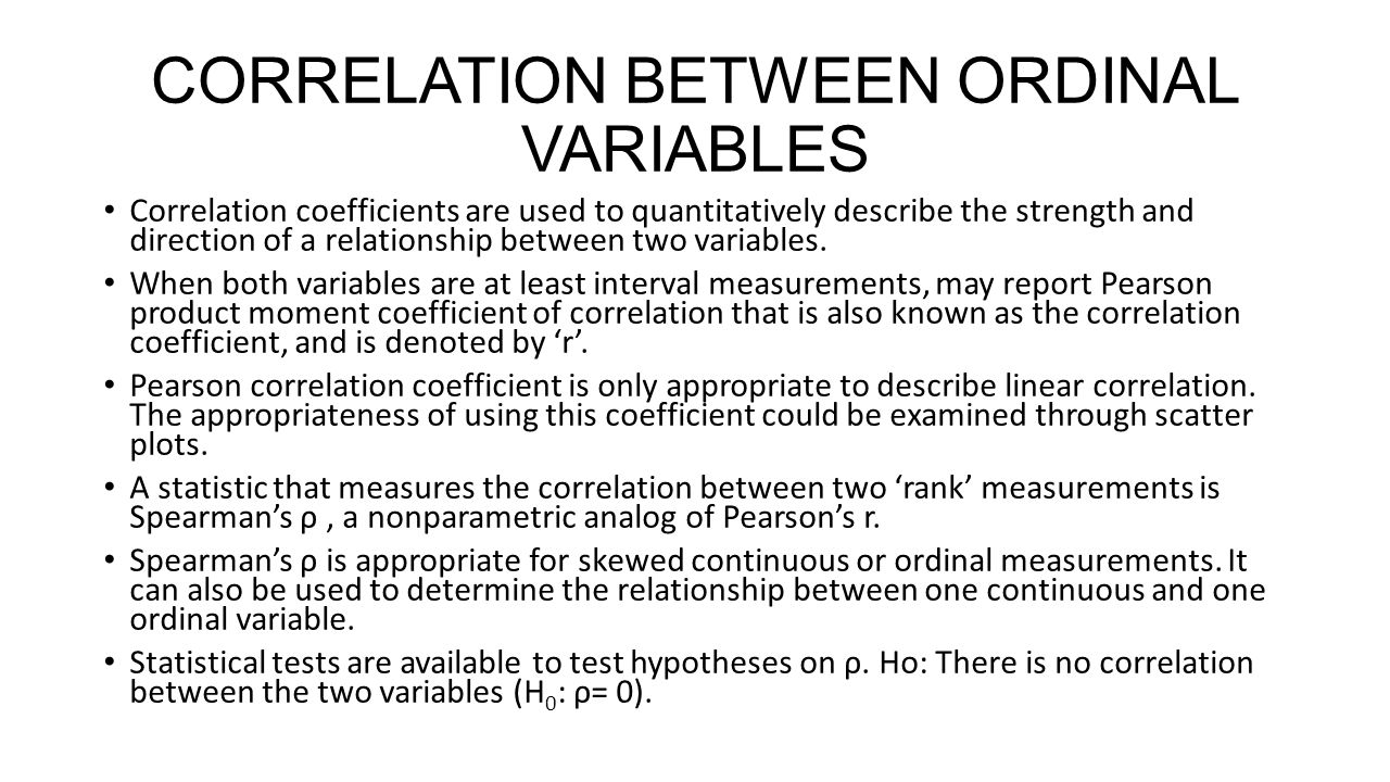 CORRELATION BETWEEN ORDINAL VARIABLES