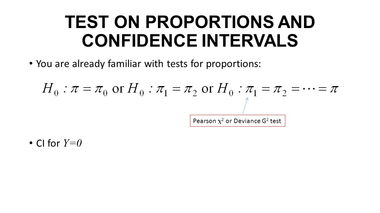 TEST ON PROPORTIONS AND CONFIDENCE INTERVALS