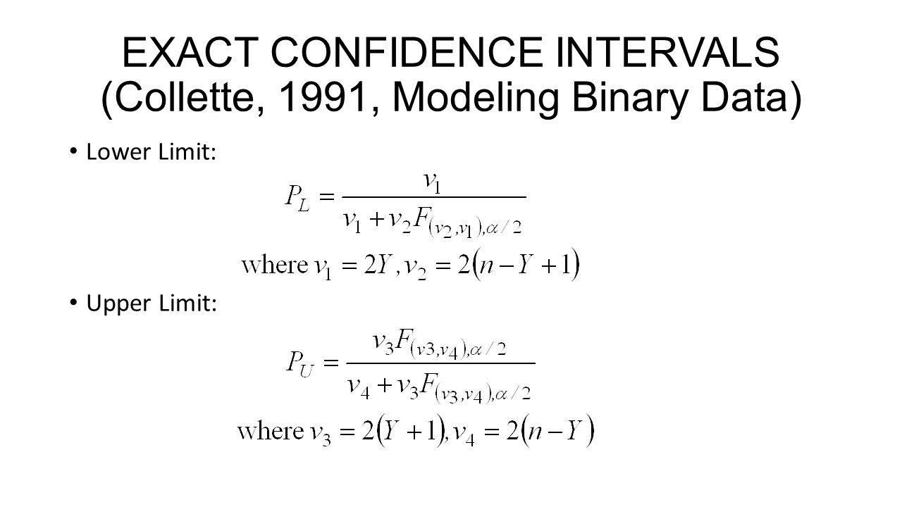 EXACT CONFIDENCE INTERVALS (Collette, 1991, Modeling Binary Data)