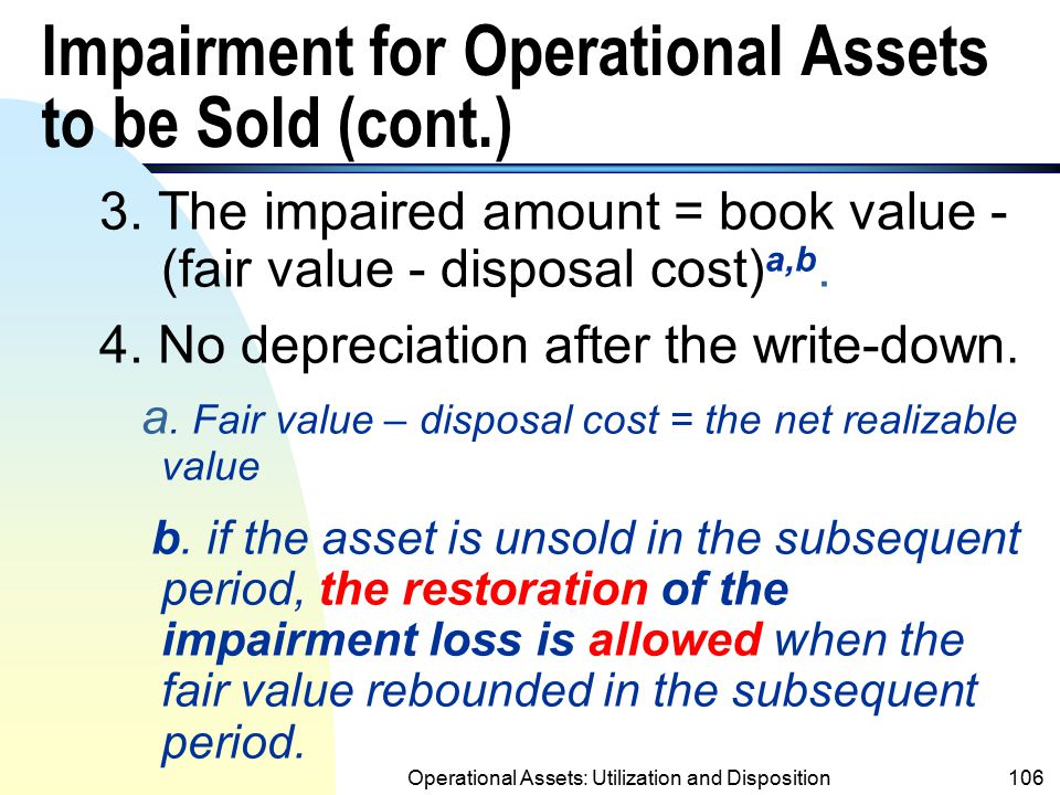 Impairment for Operational Assets to be Sold (cont.)