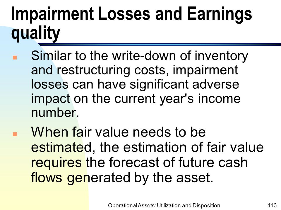 Impairment Losses and Earnings quality
