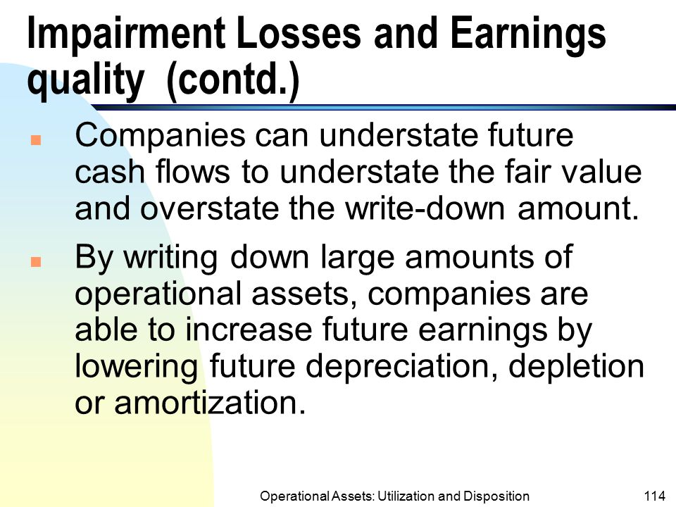 Impairment Losses and Earnings quality (contd.)