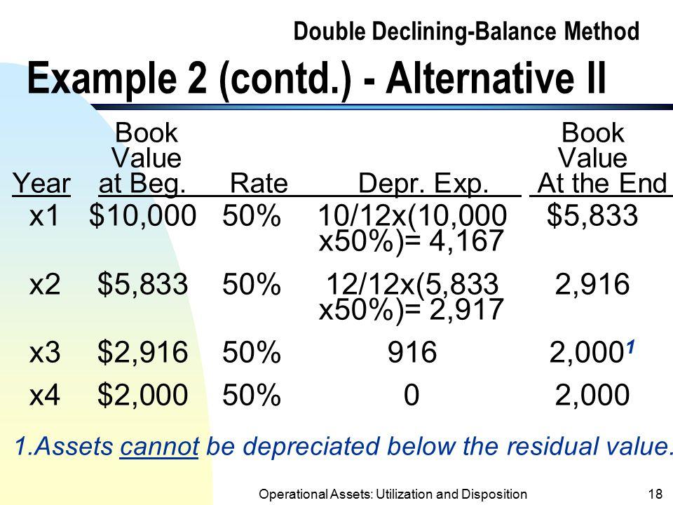 Double Declining-Balance Method Example 2 (contd.) - Alternative II