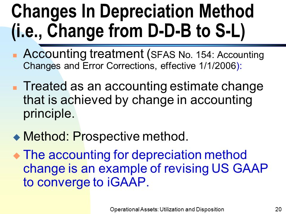 Changes In Depreciation Method (i.e., Change from D-D-B to S-L)
