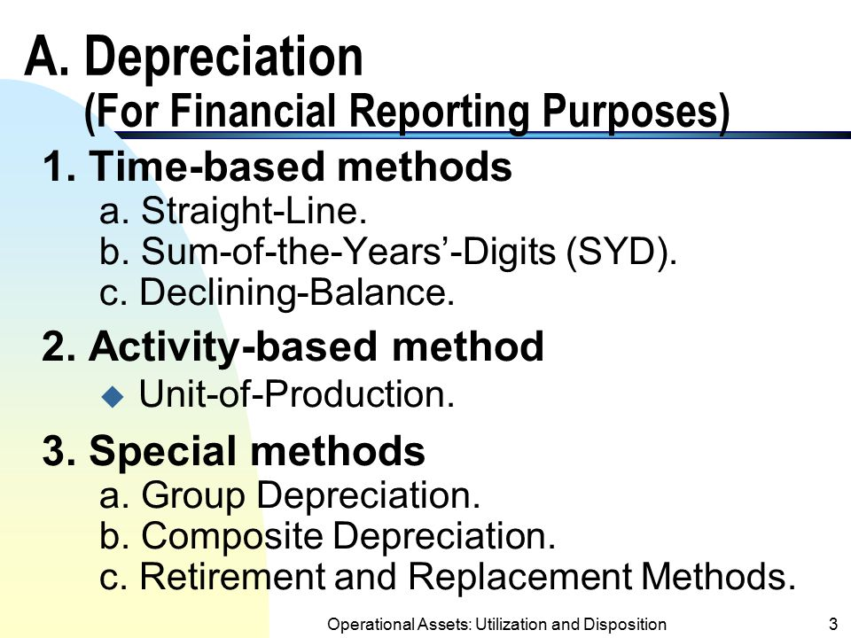 A. Depreciation (For Financial Reporting Purposes)