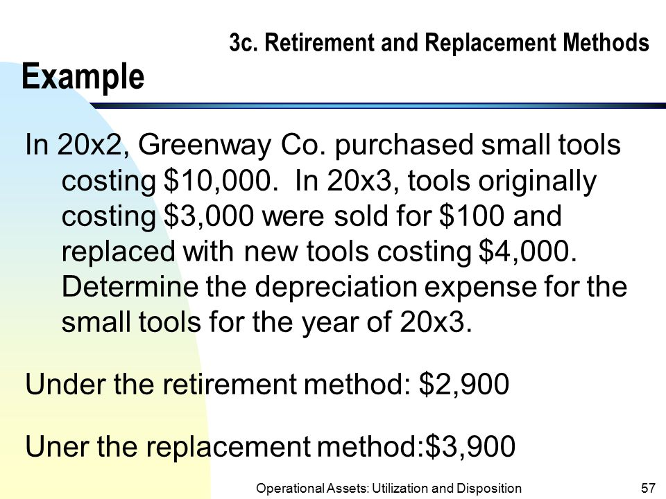 3c. Retirement and Replacement Methods Example