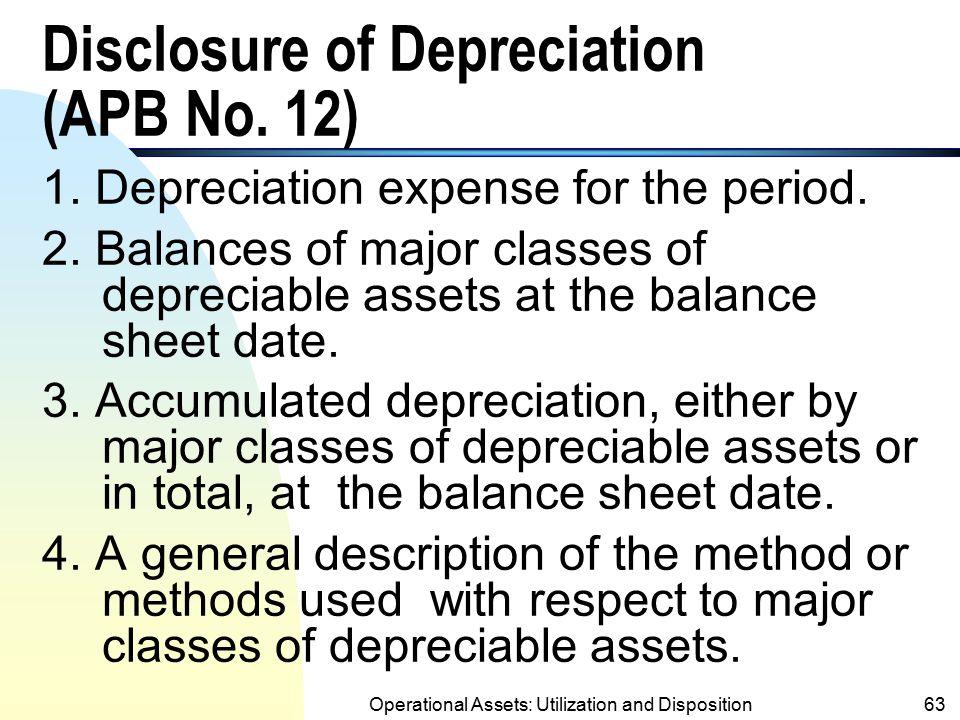 Disclosure of Depreciation (APB No. 12)