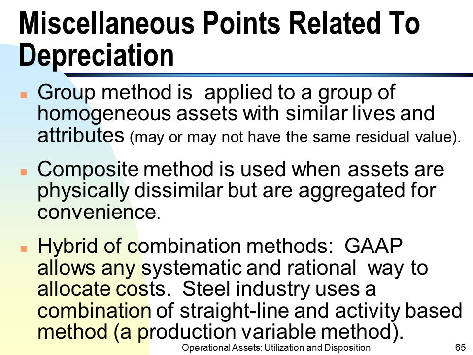 Miscellaneous Points Related To Depreciation