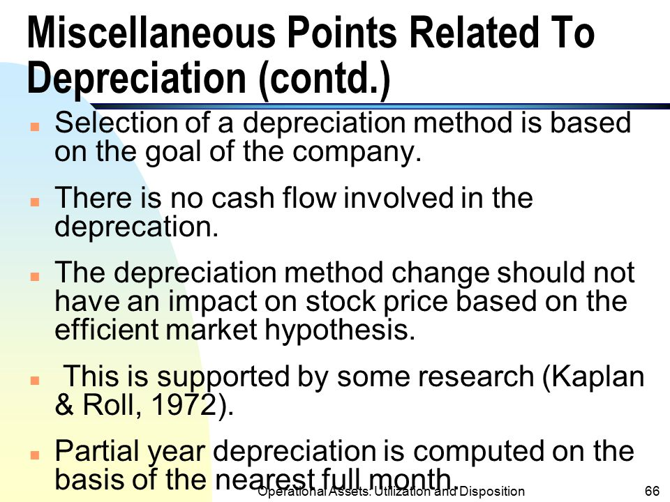 Miscellaneous Points Related To Depreciation (contd.)