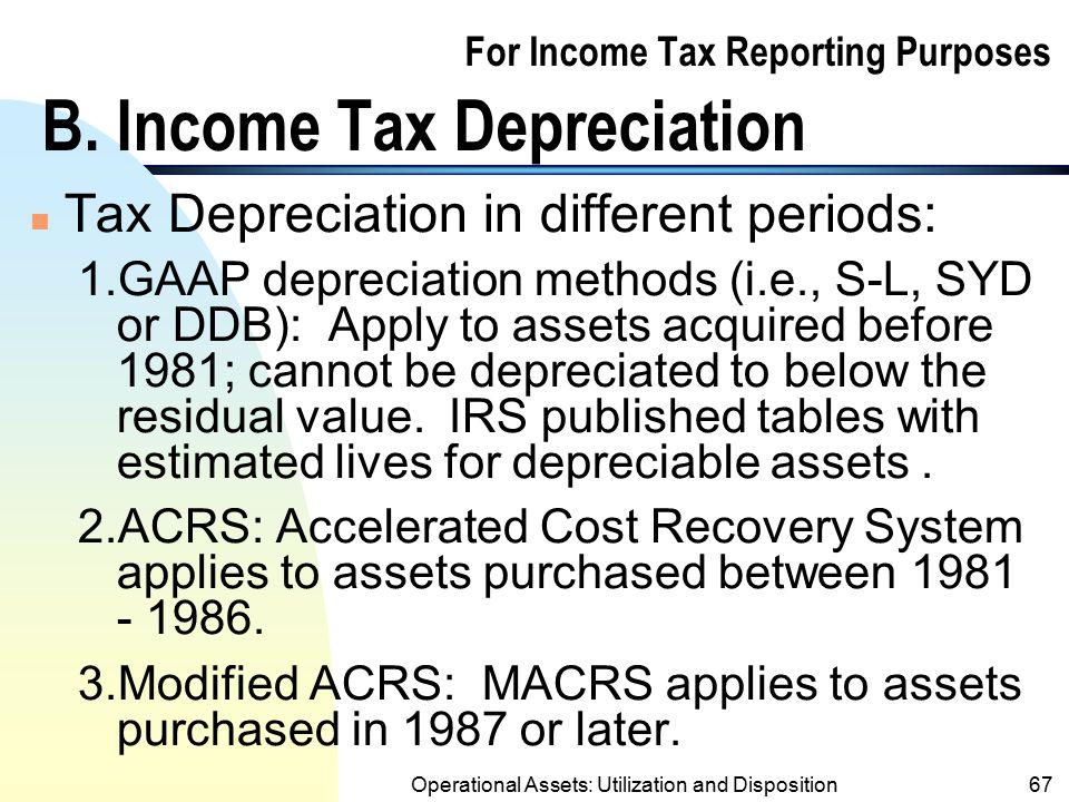 For Income Tax Reporting Purposes B. Income Tax Depreciation