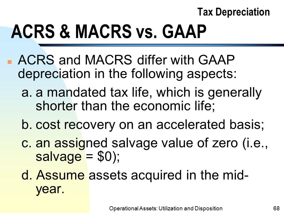 Tax Depreciation ACRS & MACRS vs. GAAP