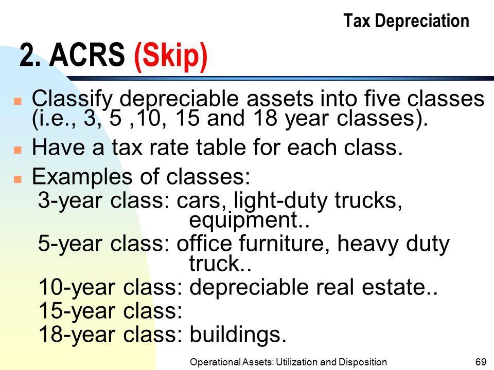 Tax Depreciation 2. ACRS (Skip)