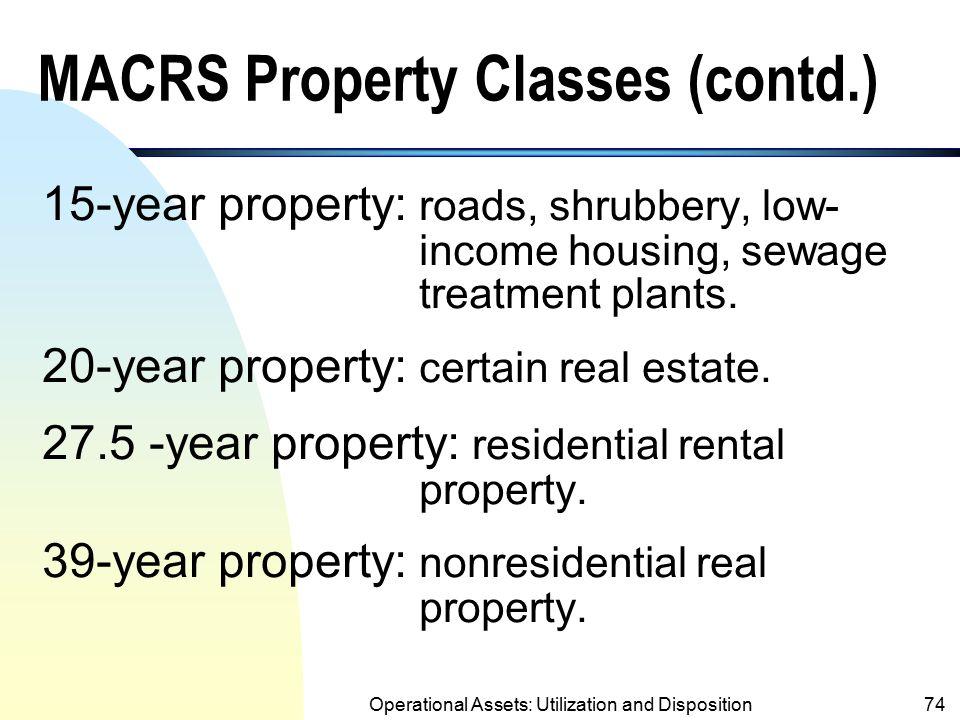 MACRS Property Classes (contd.)