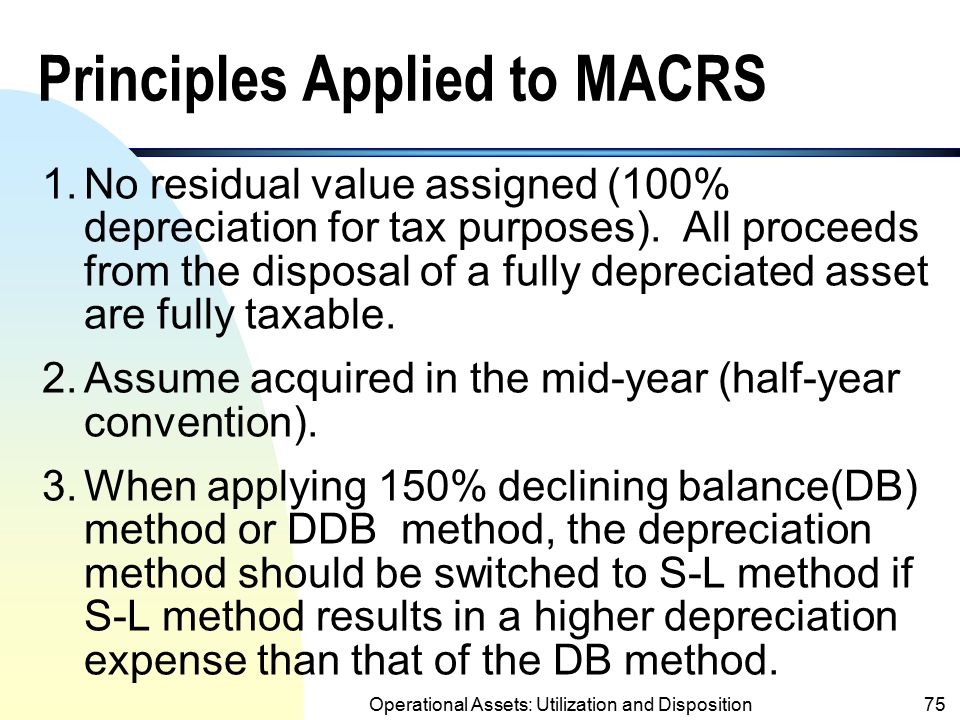 Principles Applied to MACRS