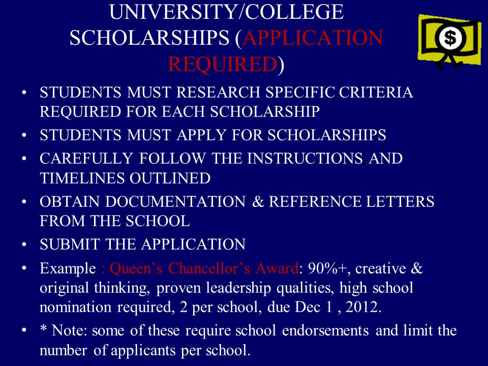 UNIVERSITY/COLLEGE SCHOLARSHIPS (APPLICATION REQUIRED)