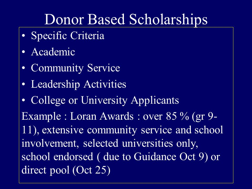 Donor Based Scholarships