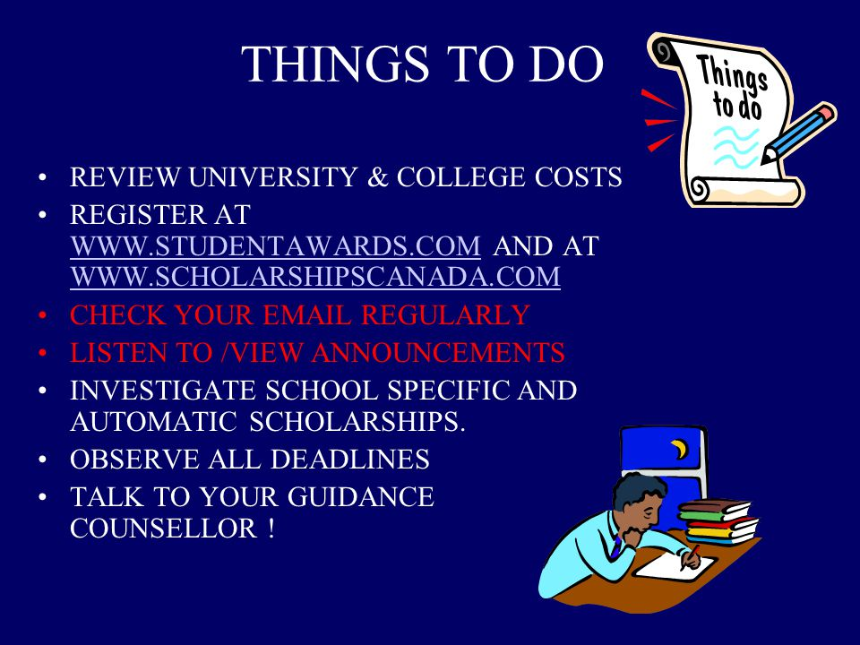 THINGS TO DO REVIEW UNIVERSITY & COLLEGE COSTS
