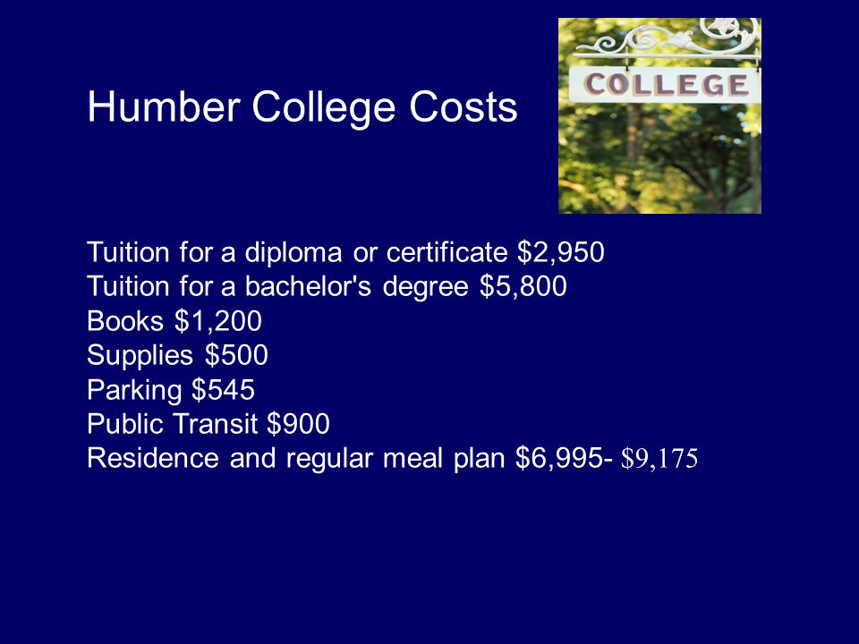 Humber College Costs Tuition for a diploma or certificate $2,950