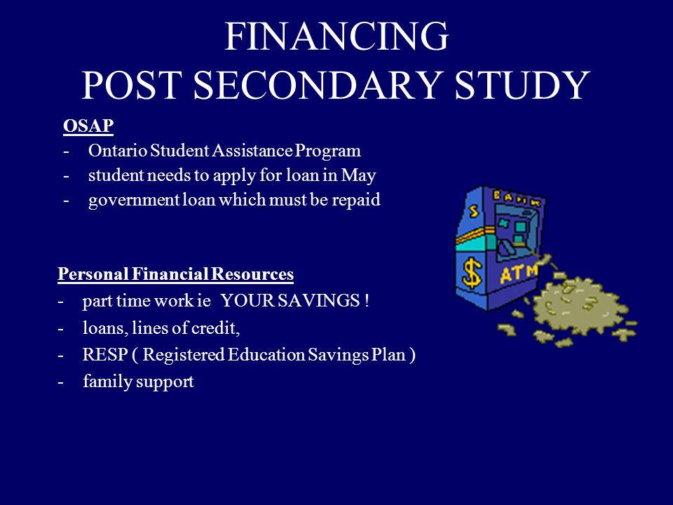 FINANCING POST SECONDARY STUDY