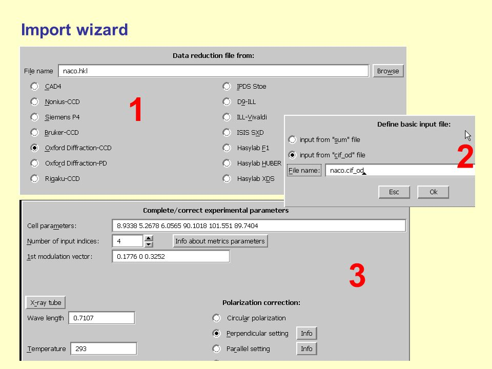 Import wizard 1 2 3