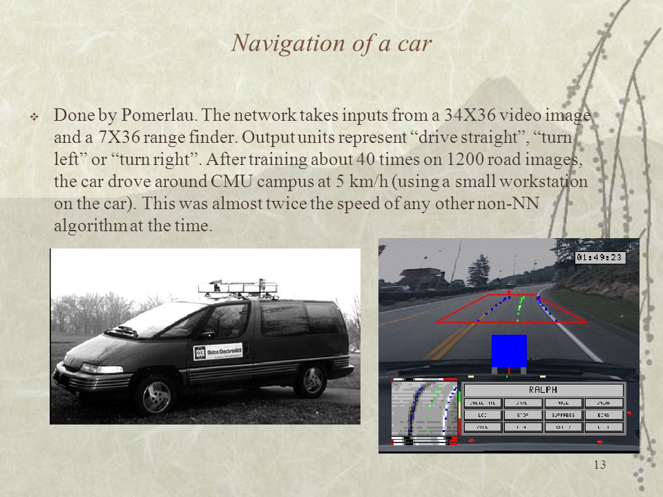 Navigation of a car