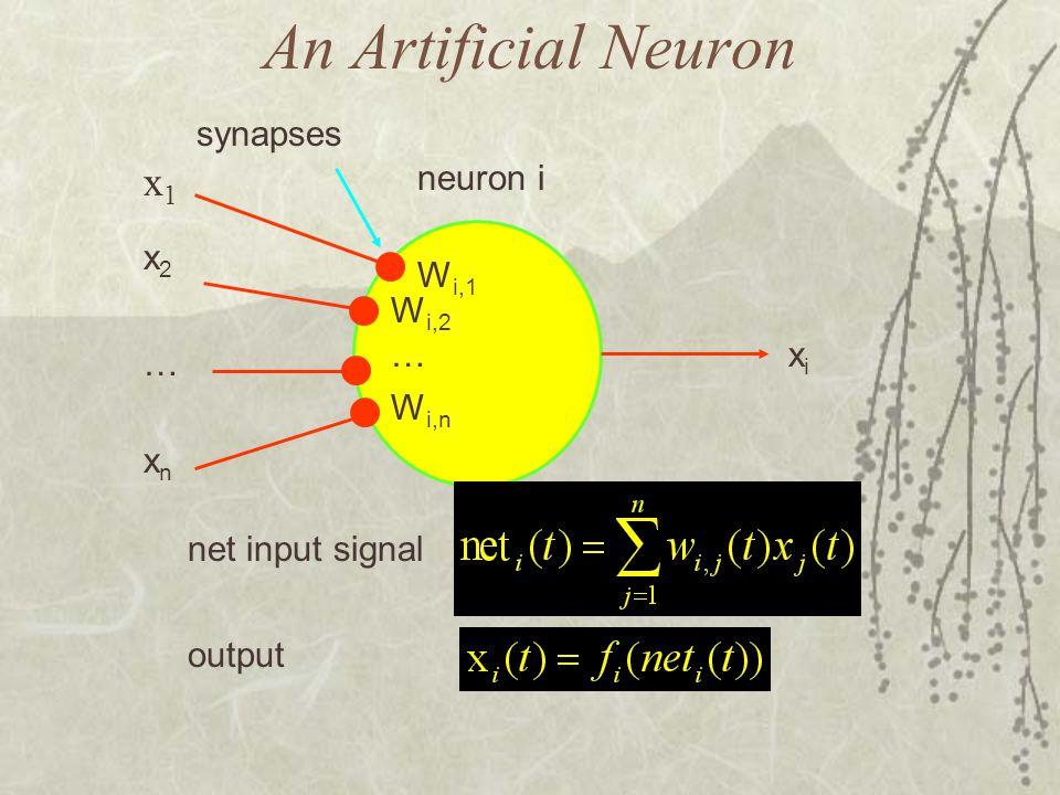 An Artificial Neuron x1 synapses neuron i x2 Wi,1 Wi,2 … xi … Wi,n xn