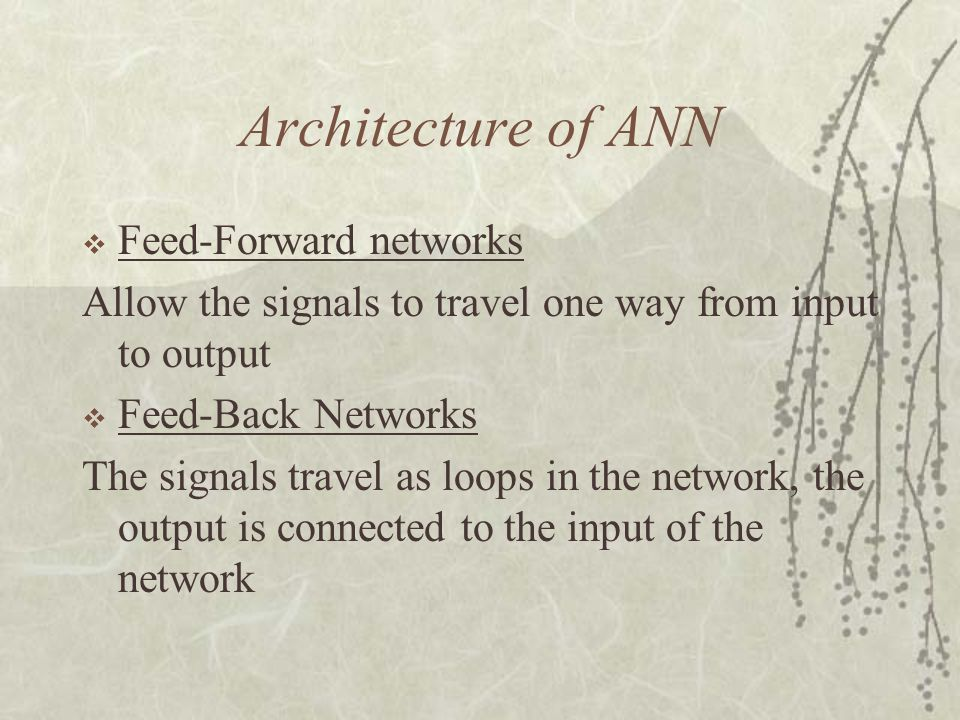 Architecture of ANN Feed-Forward networks