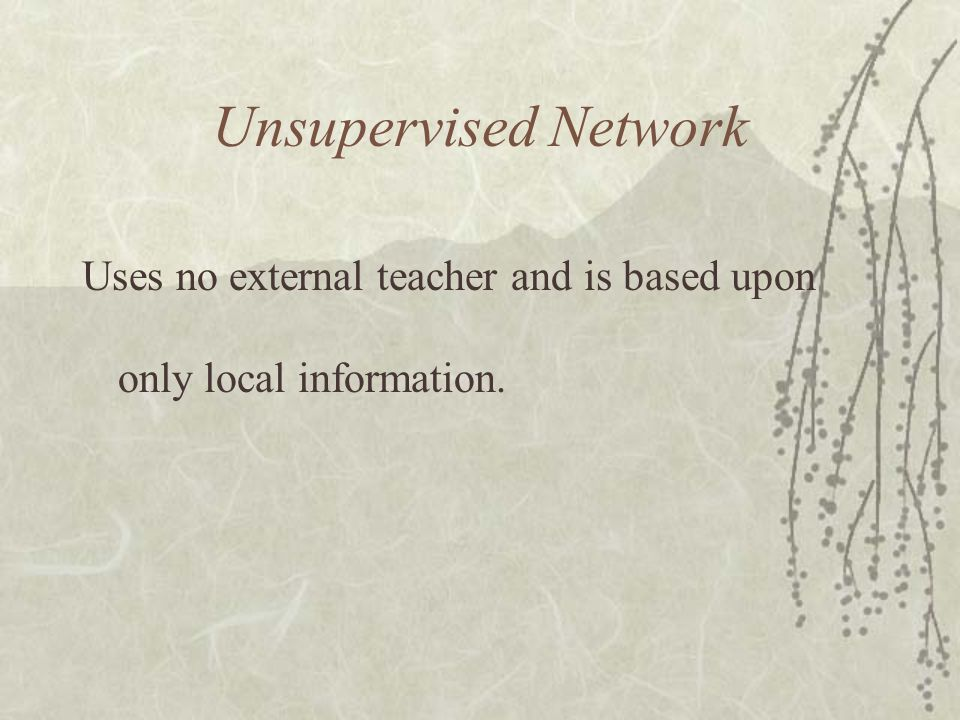 Unsupervised Network Uses no external teacher and is based upon only local information.