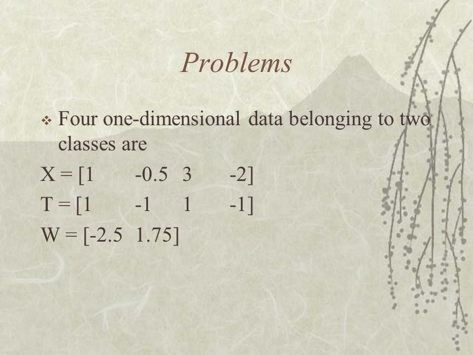 Problems Four one-dimensional data belonging to two classes are