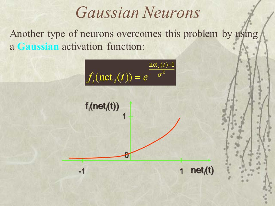 Gaussian Neurons Another type of neurons overcomes this problem by using a Gaussian activation function: