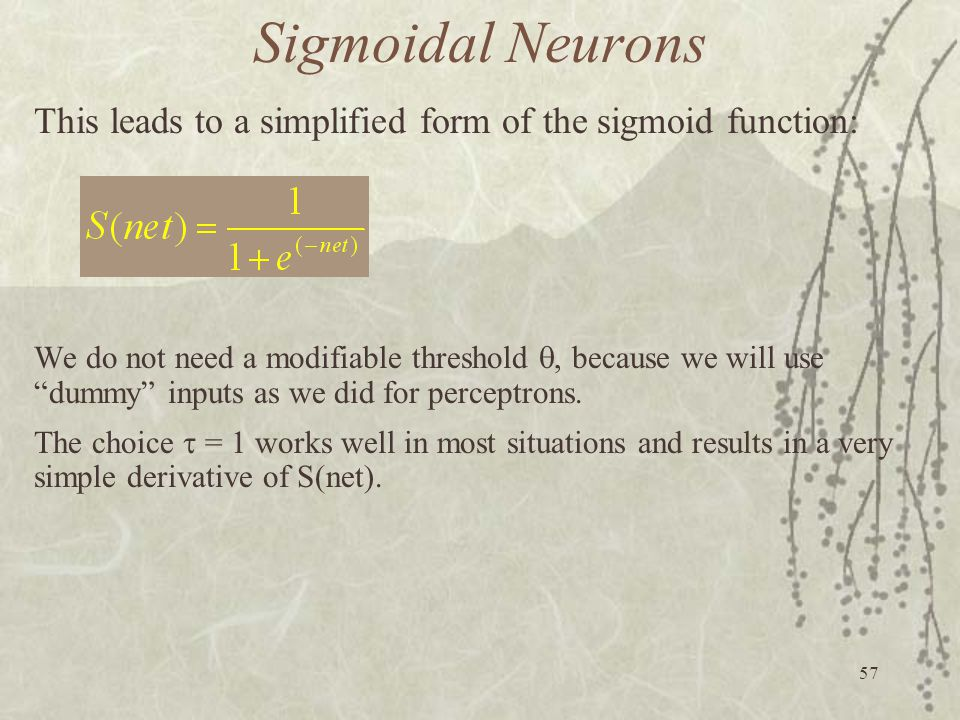 Sigmoidal Neurons This leads to a simplified form of the sigmoid function: