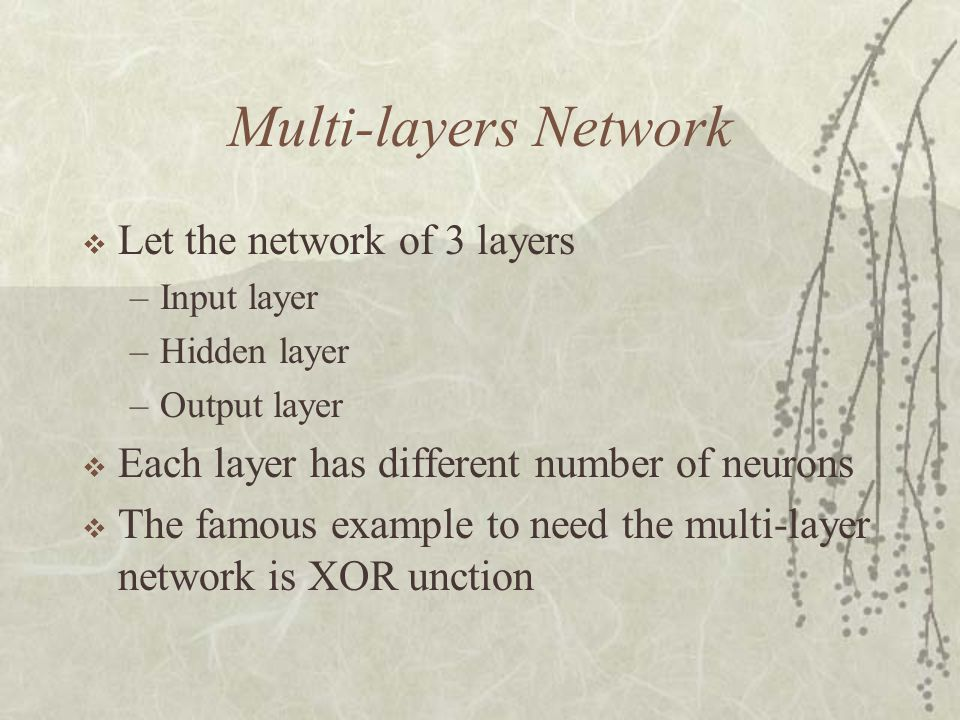 Multi-layers Network Let the network of 3 layers